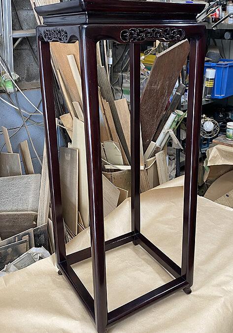 唐木工芸品の修理ーシタン香炉台(高卓)の分解修理
